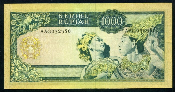 indonesia banknotes 1000 rupiah banknote of 1960 sukarno. Black Bedroom Furniture Sets. Home Design Ideas