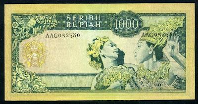Paper Money Indonesia 1000 Rupiah banknote Javanese Bali Balinese dancers