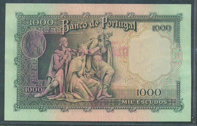 Portugal paper money 1000 Escudos bank note