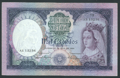 Portugal paper money 1000 Escudos banknote, Queen of Portugal.