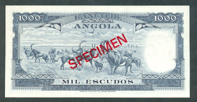 Portuguese Angola Paper Money 1000 Escudos bank note