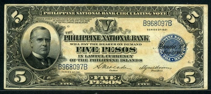 Us Philippines 5 Pesos Banknote Of 1921 President William