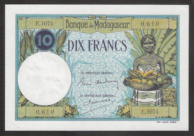 Madagascar 10 Francs banknote