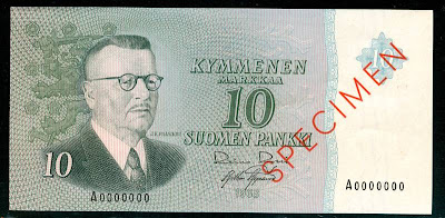 10 Finnish mark SPECIMEN Pre-Euro Banknote currency