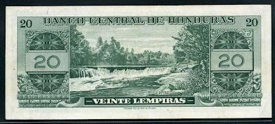 Honduras paper money 20 Lempiras banknote Rio Lindo Notafilia Numismática