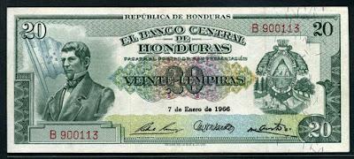 Honduras 20 Lempiras banknote currency paper money pictures Dionisio de Herrera Notafilia Numismática collecting billete de papel moneda