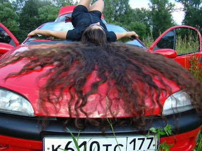 car girl model very long flowing hair