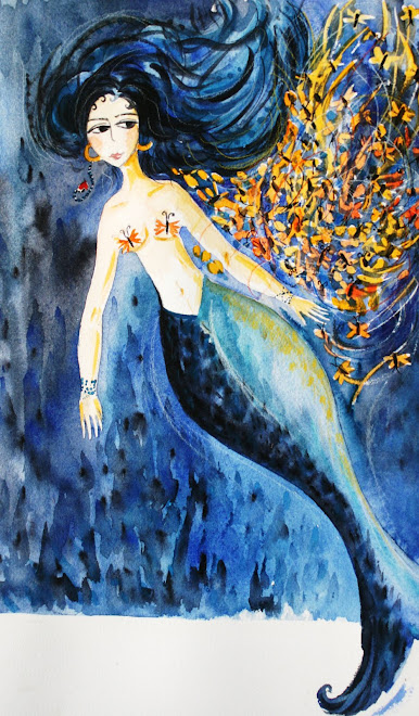 Femme sirène aux papillons.