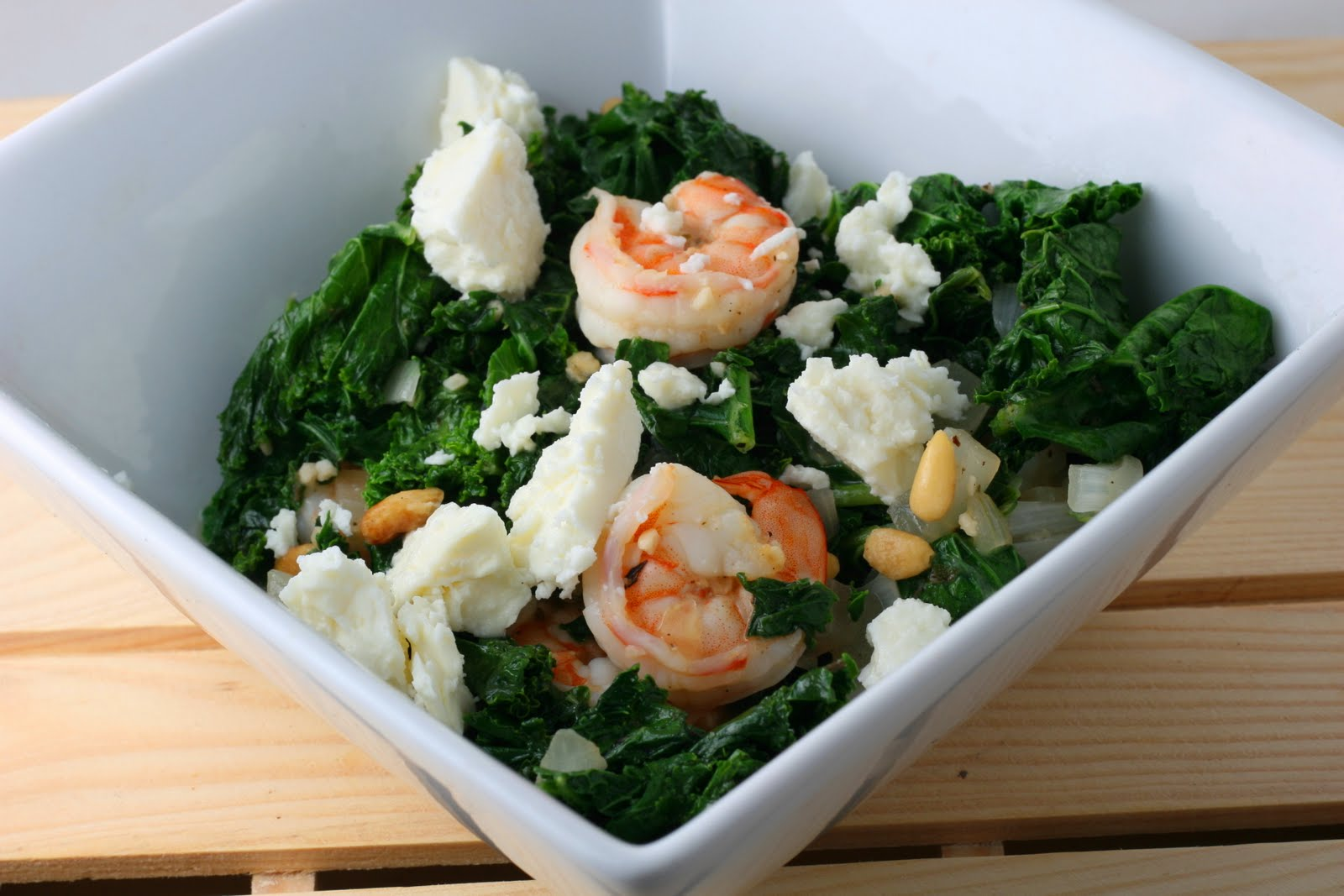 ... Shrimp and Kale with Toasted Pine Nuts and Feta - Coastal Cooking