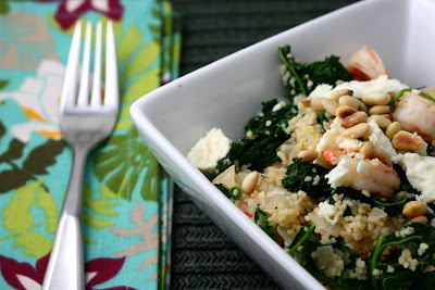 Shrimp, Kale and Spinach with Couscous, Feta and Toasted Pine Nuts ...