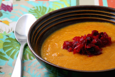 Carrot-Beet Soup and Beet Relish with Raisins and Fresh Ginger