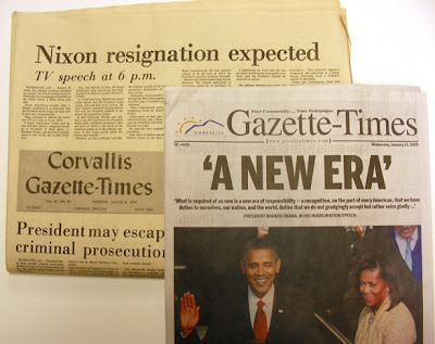 Gazette-Times newspapers from Aug. 8, 1974 Nixon resigns and Jan. 21, 2009 Obama a new era -- shows paper has shrunk from 15 inches wide to 11 inches wide