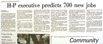 headline 'H-P executive predicts 700 new jobs' Gazette-Times Aug. 8, 1974, p. 2