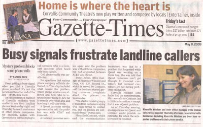front page story headlined 'Busy signals frustrate landline callers' Gazette-Times, May 8, 2009, p. A1