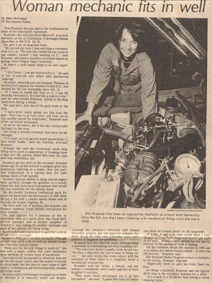 Kim Kraemer shown working on a car engine in a newspaper business page story by Mike McCraken, 'Woman mechanic fits in well,' Gazette-Times, Mar. 13, 1980, p. 13