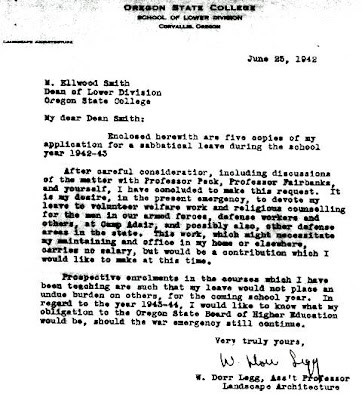 1942 Letter signed by Oregon State University Assistant Professor of Landscape Architecture W. Dorr Legg stored in the personnel files stored in the OSU archives, Corvallis, Oregon