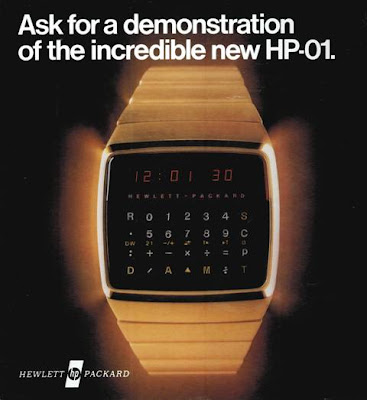HP-01 calculator wristwatch advertisement from 1977