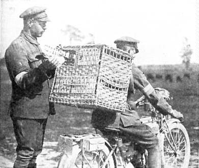 Pigeons being transported to the front by dispatch rider