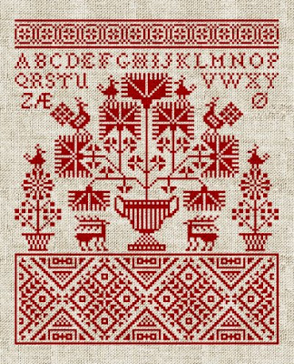 Redwork Cross Stitch Sampler Pattern