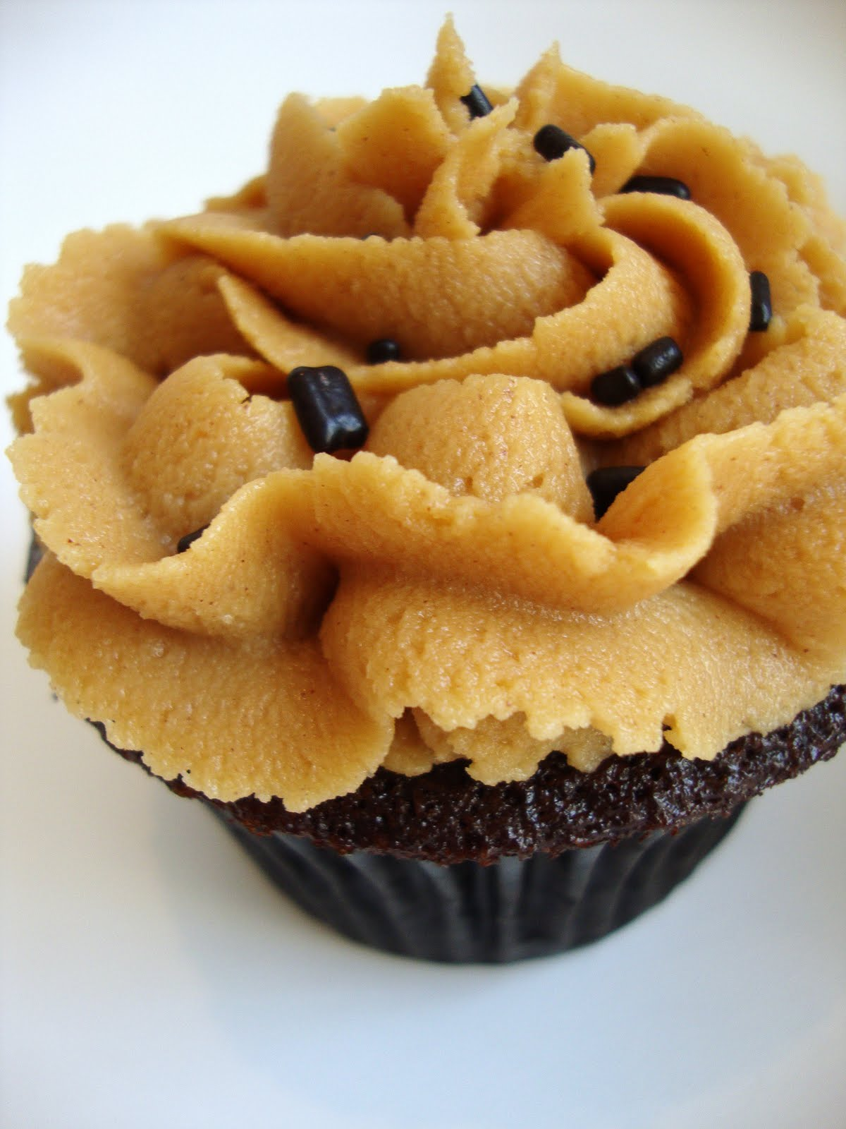 Dark Chocolate Cupcakes with Peanut Butter Frosting | Brown Eyed Baker