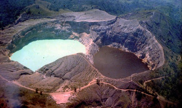 three differently colored crater lakes