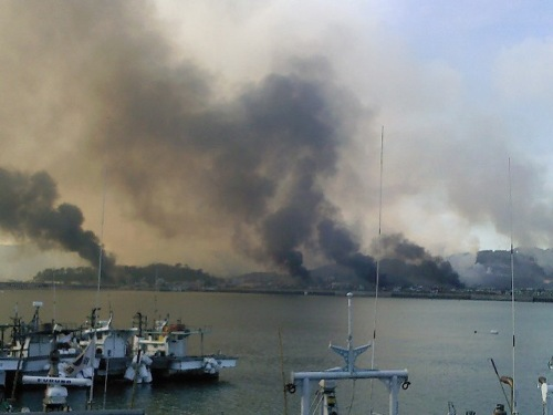 Smoke rising from Yeonpyeong Island