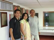 """Con el locutor  Pedro Rios Prado y el operador del programa """"Llanerias"""" Luís Gonzalez.Enlace 860AM"""