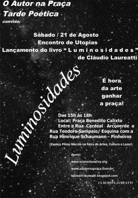 """Lançamento nO Autor na Praça - Tarde Poética - Encontro de Utopias e livro """"Luminosidades"""""""