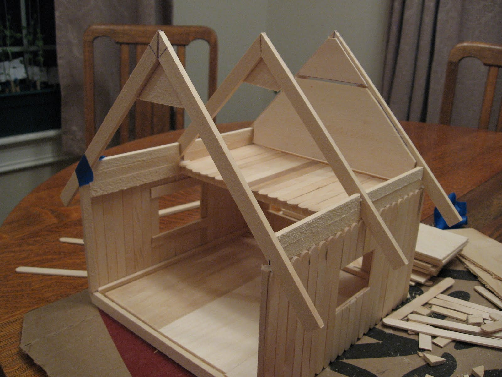 Almost unschoolers basswood and popsicle stick doll house man of almost unschoolers basswood and popsicle stick doll house man of the house style jeuxipadfo Gallery