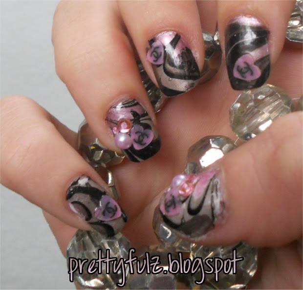 prettyfulz water marbeling nail