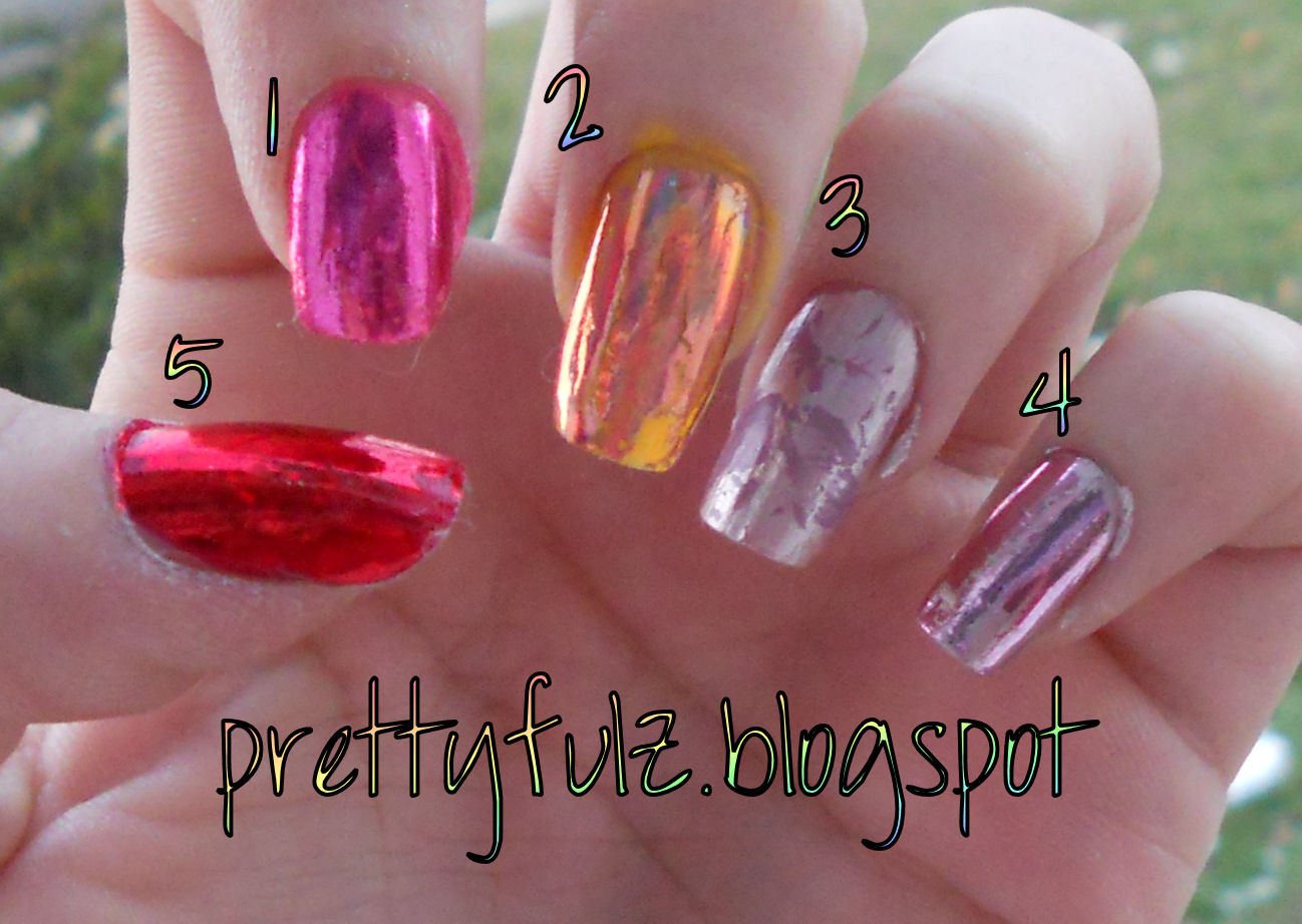 Prettyfulz: Nail Foil Swatches from Dollar Nail Art