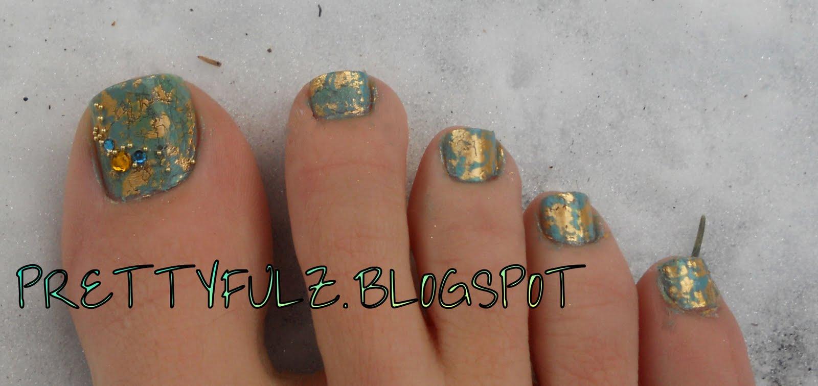 Prettyfulz foil nail art african jade pedicure - Foil nail art ...