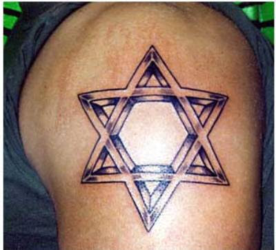 STAR OF DAVID TATTOOS DESIGN - A Star of David tattoo can be seen in many
