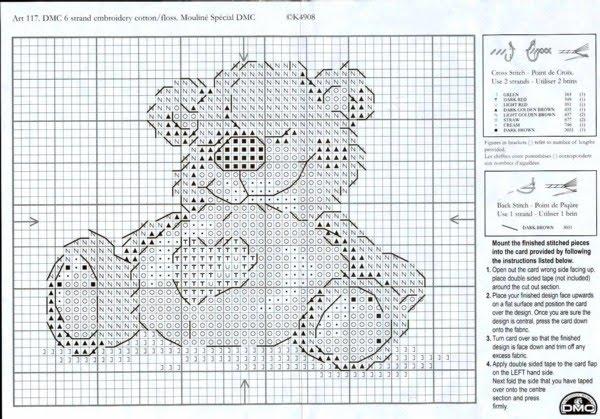 en punto de cruz esquemas para imprimir de ositos en punto de cruz