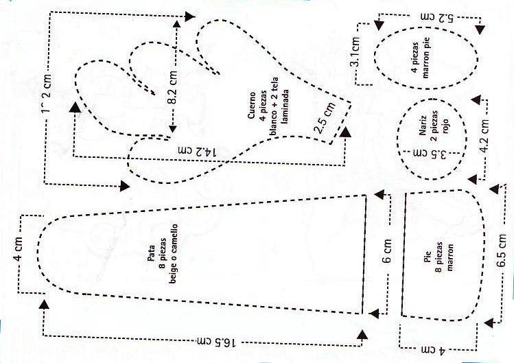 Moldes patrón para el Reno de Navidad