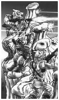Vargr holding off Outrim Alliance forces, Tonivar/Cabria - image from SJG GURPS Traveller: Alien Races 1