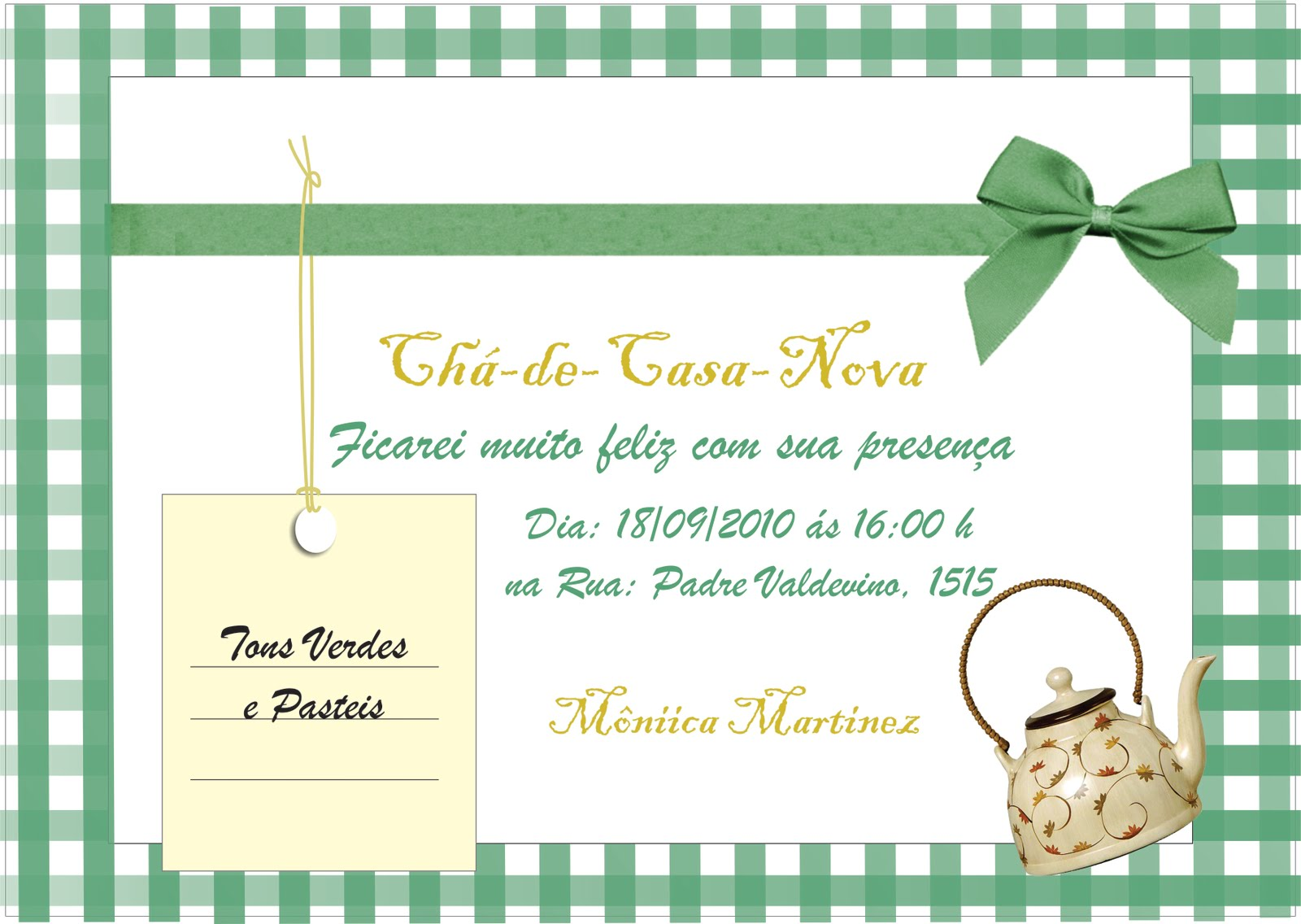 Patrycia Convite Chá De Casa Nova Corel Draw
