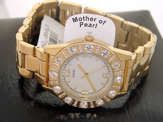 GUESS PEARL DIAL GOLD SPARKLE SWAROVSKI LADIES WATCH