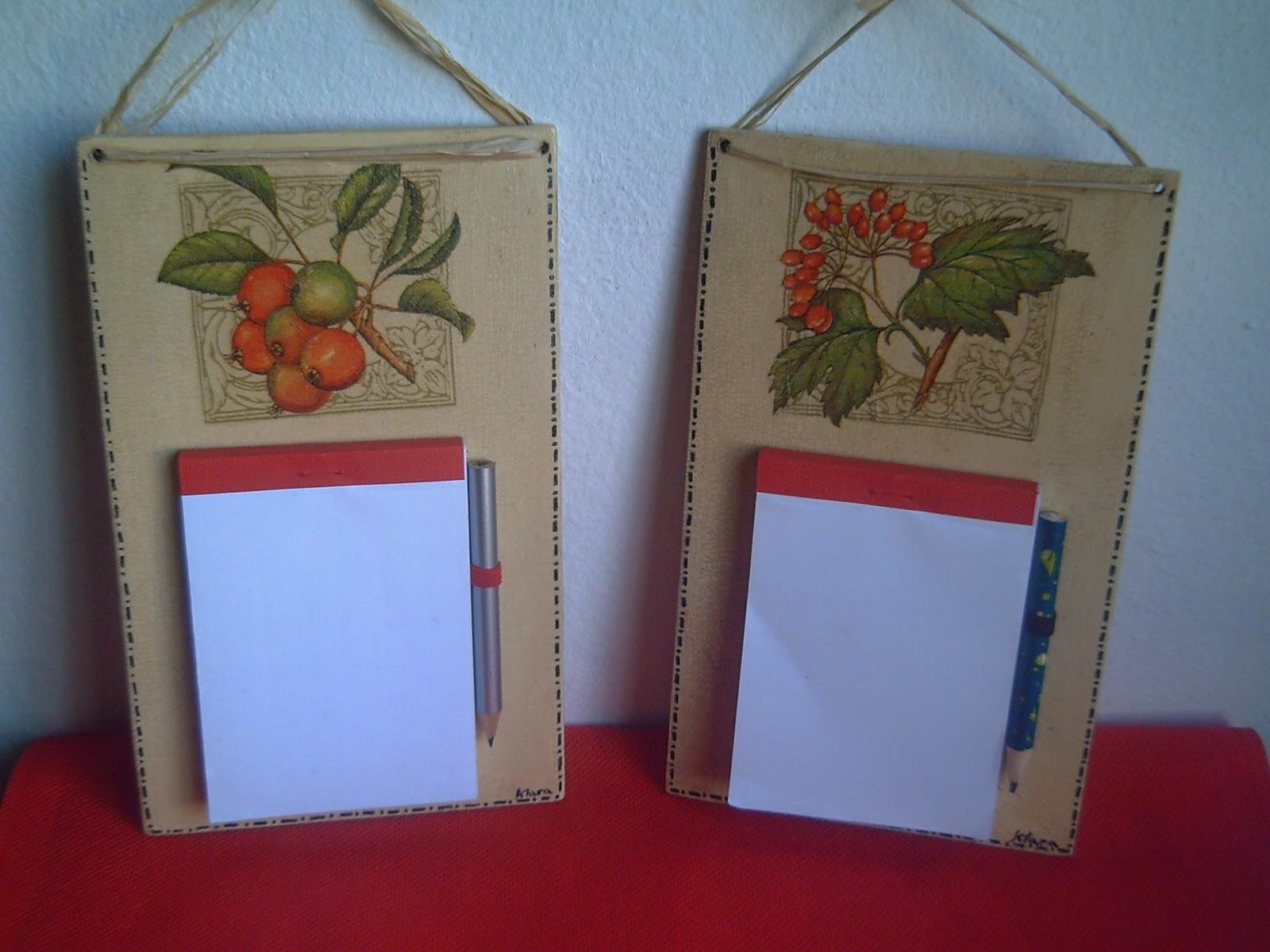 Klara manualidades porta notas para la cocina for Manualidades para la cocina