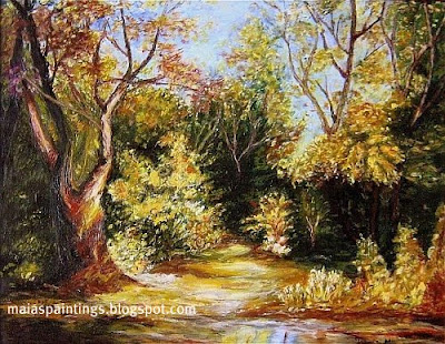 Autumn forest scene - oil painting