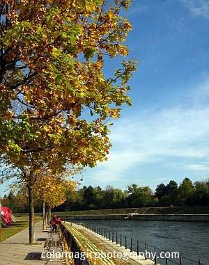 Sunny autumn day-river scene
