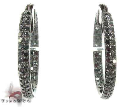 Black Diamond Hoop Earrings: