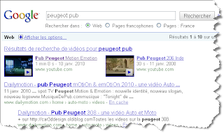 Peugeot TV ad is on top positions on Google France