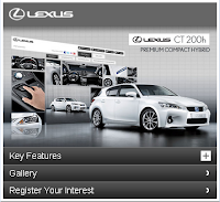 Lexus CT 200h minisite for mobile devices