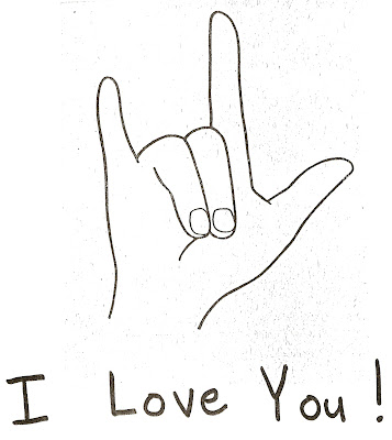 "Pencil drawing of a hand showing the ASL sign for ""I Love You""."