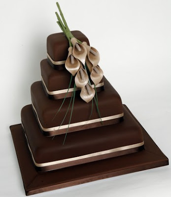 Wedding Cake square brown Chocolate Calla Lily