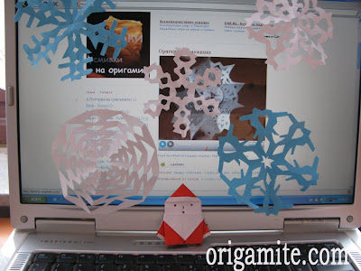 Оригами снежинка и дядо коледа