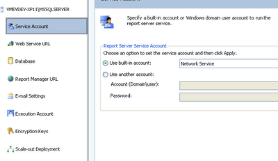 Reporting Services Configuration Manager - Account