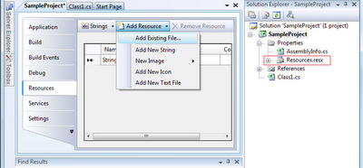 Visual Studio: Adding file as resource
