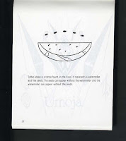 Image of watermelon slice with five seeds in half circle above slice, tattoo used by Mandingo Warriors gang, from Prison Gang Tattoos booklet